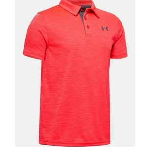 Red under armor shoet sleeve polo 3 button down